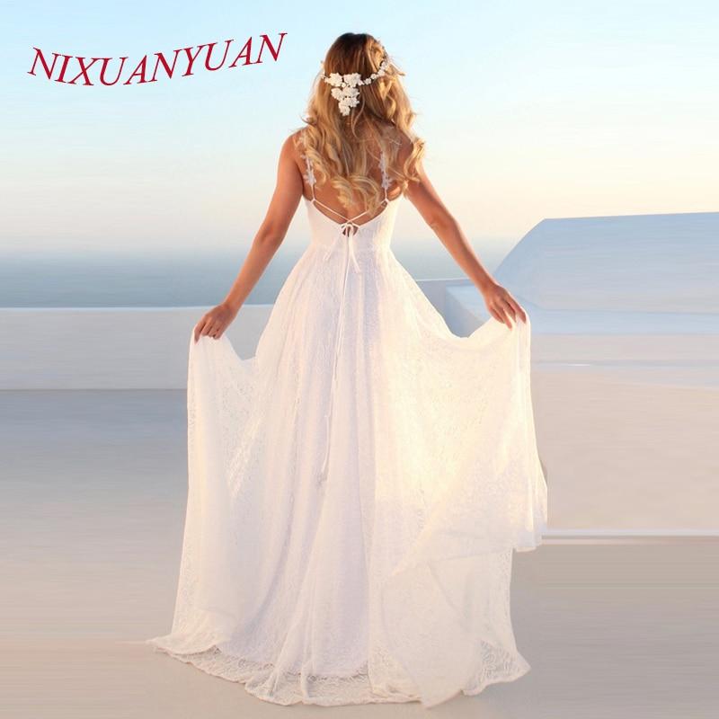 NIXUANYUAN Vintage Lace Beach Wedding Dresses 2019  Vestidos De Casamento Sexy Bridal Dress Backless Plus Size Wedding Dresses