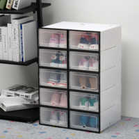 6Pcs/set Shoe Organizer Drawer Transparent Plastic Shoe Storage Box Rectangle PP Thickened Shoes Organizer Drawer Shoe Boxes