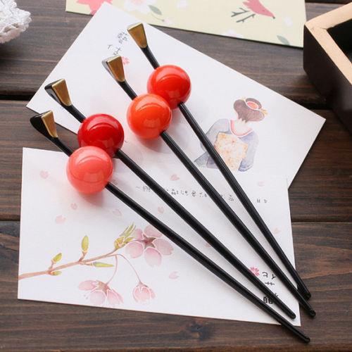 Japanese Geisha Oiran Headwear Hairpin Kanzashi Kimono Ball Hair Stick Accessory