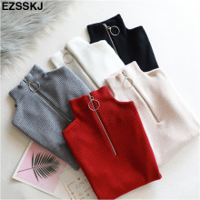 casual Zipper Sweater Women Turtleneck Solid spring autumn female Knitted sweater Pullovers long Sleeve chic Soft Jumper top(China)
