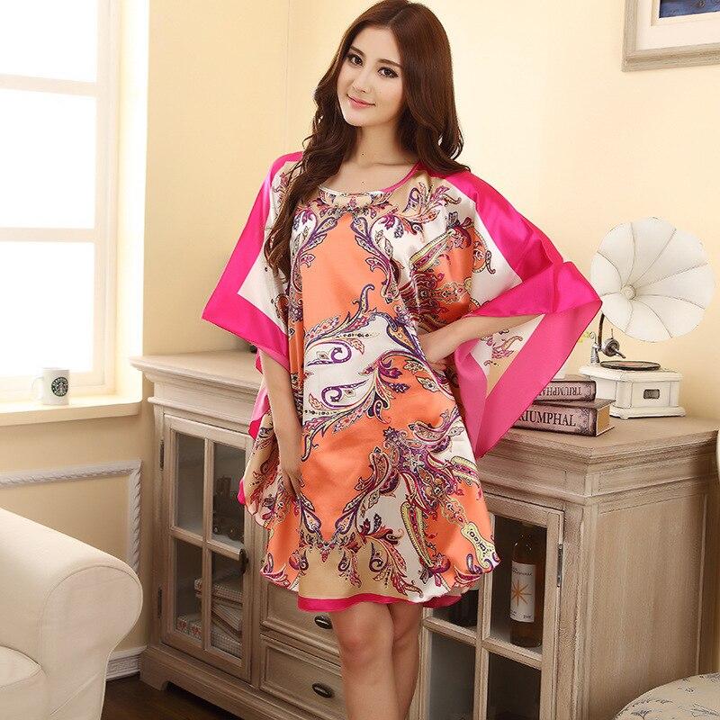 Hot Sale Summer Fashion Lady Robe Chinese Women's Rayon Bath Gown Yukata Nightgown Novelty Print Night Dress One Size