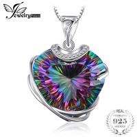 Huge 31 6ct High Quality Rainbow Fire Mystic Topaz Heart Necklace Pendant 925 Solid Sterling Silver