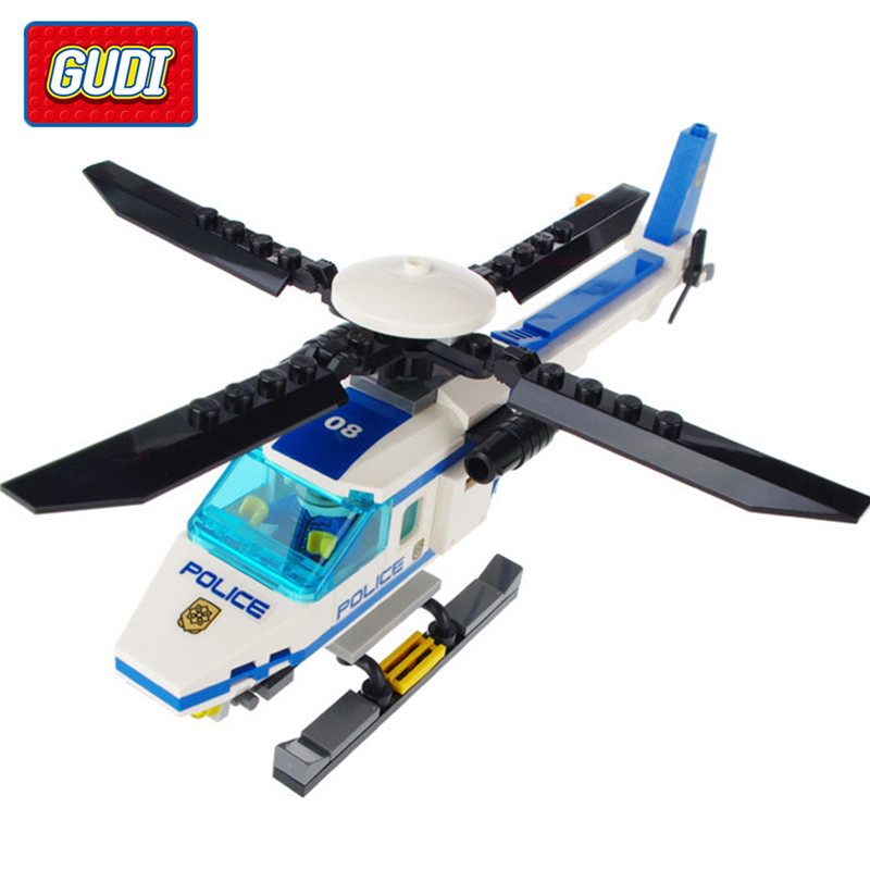 GUDI Blocks Toys Legoings Police Series Helicopter Assembled Model Building Blocks Educational Toys for Children