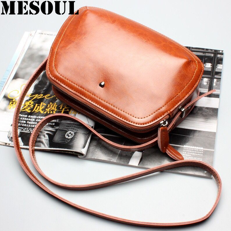 MESOUL Small Shoulder Bags for Women Crossbody Bag Female Fashion Vintage Oil Wax Cowhide Summer New Designer Purses and Handbag