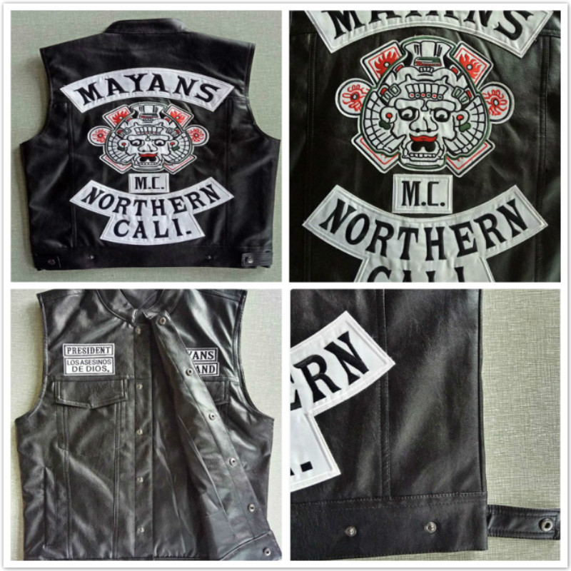 Movie Mayans.MC Motorcycle Club Vest Jacket Exquisite Quality Embroidery Leather Vest Black Punk Coat Cosplay Costume image