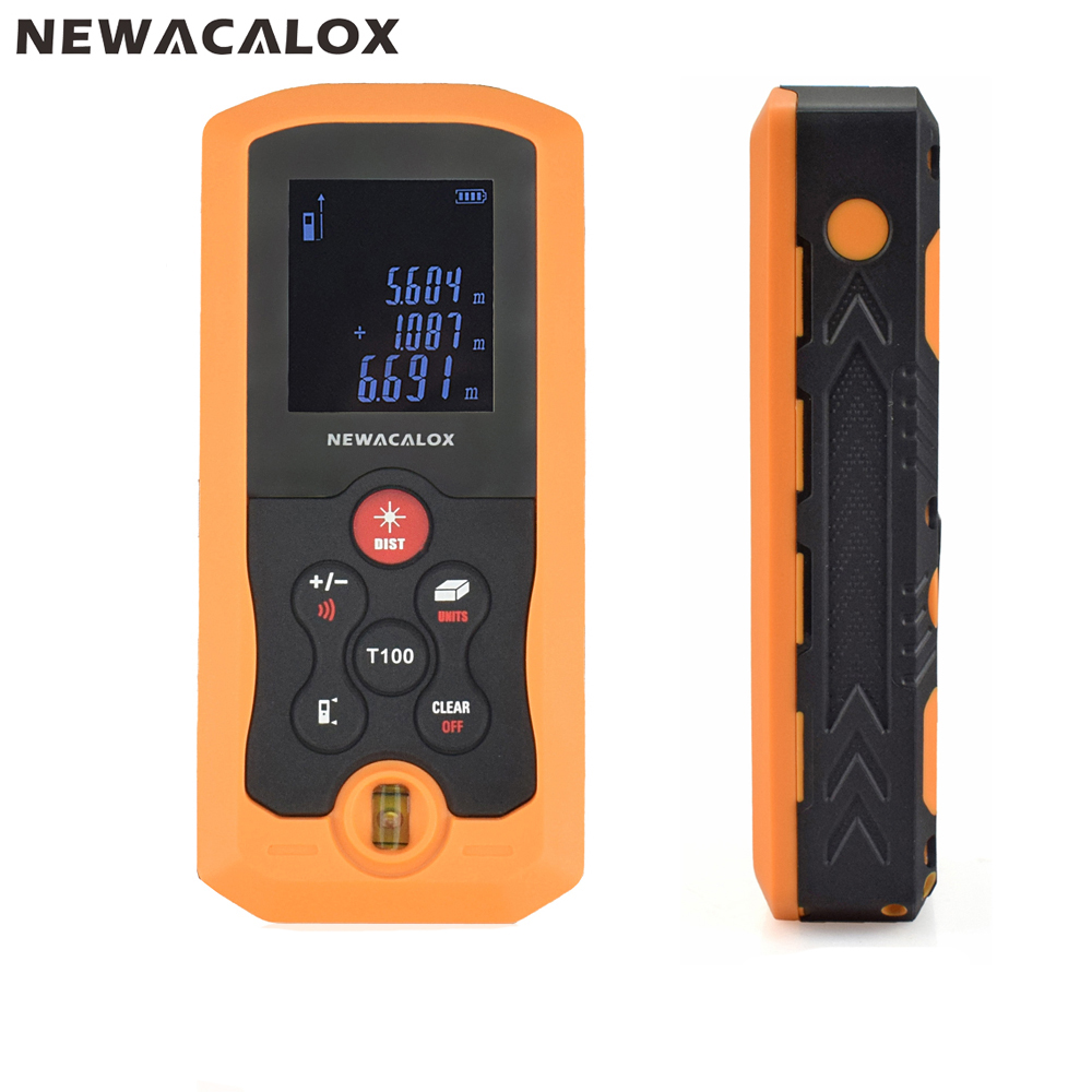 NEWACALOX IP54 40M 70M 100M Handheld Mini Digital Laser Distance Meter Tape Range Finder Electronic Measure Construction Tool portable d100 100m electronic digital laser power tape measure