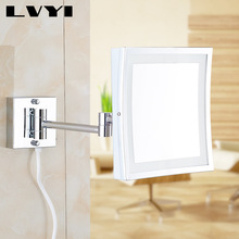 Mirror Magnifying Wall LED Light Mounted Folding Cosmetic 3X Makeup Bathroom