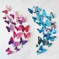 12 шт. Магнит 3D Бабочки Стены Искусства Наклейки Главная Наклейки Декорации для Вечеринок