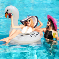 INS Hot Inflatable Swan Swimming Ring with Feathers Swan Transparent White Ring Swim Tube Raft Circle for Adult Children Piscina