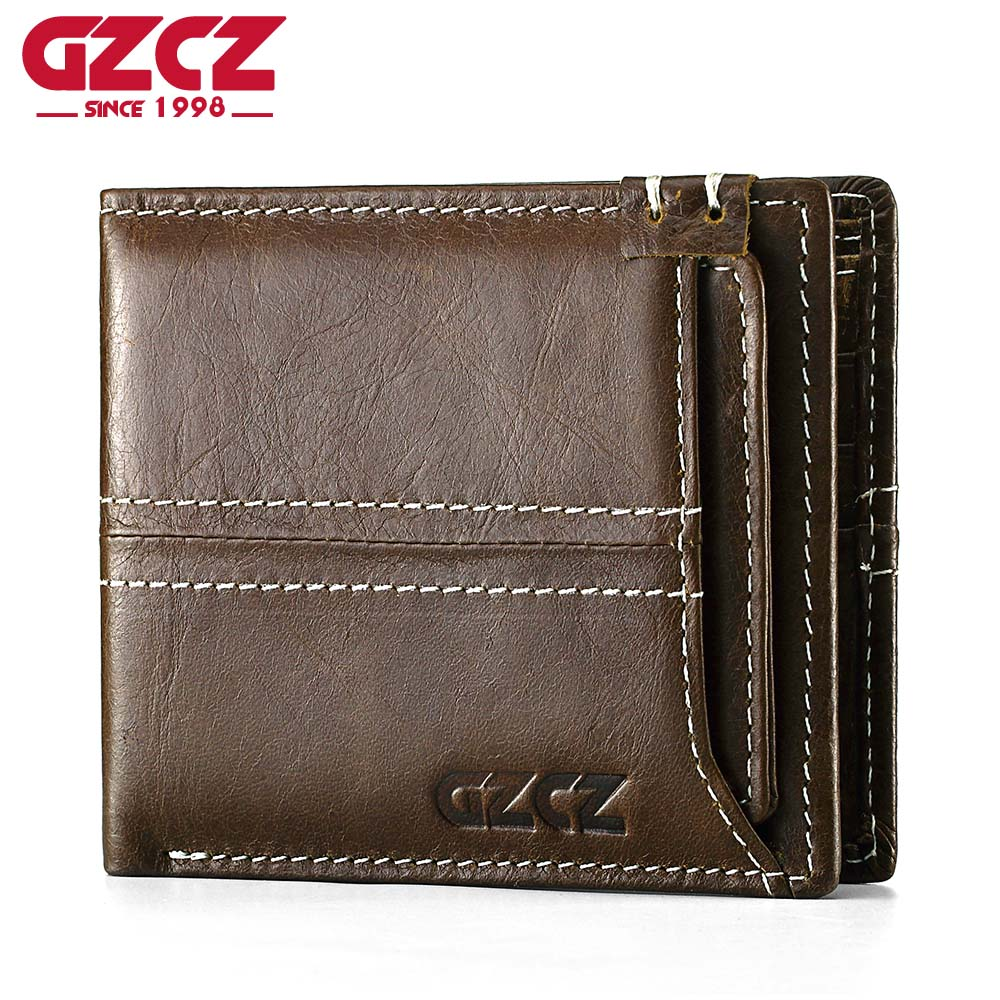 GZCZ Male Wallet Men Portomonee Coin Purse Mens Cuzdan Detachable Credit Card Money Bag Genuine Leather Man Handy p kuone business men purse famous luxury brand coin credit card holder male travel long wallet passport cover leather money bag