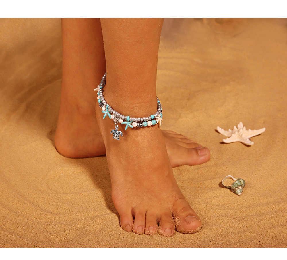 高品質ヴィンテージシェルビーズヒトデウミガメアンクレット用女性多層アンクレット脚ブレスレット手作りボヘミアンジュエリー