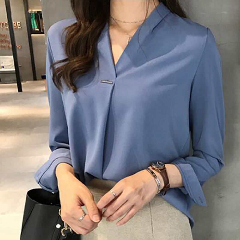 2019 Summer   Blouse   Tops Long Sleeve White Blue   Blouse   Women Chiffon   Blouse     Shirt