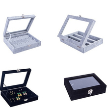 Fashion Black/Gray Velvet Earrings Jewelry Boxes Ring Earring Necklace or other Ornaments Storage Jewellery Organizer Packaging