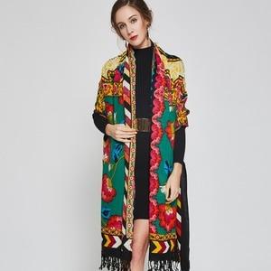 Image 3 - 2019 럭셔리 브랜드 대형 Pashmina 패션 스카프와 Shawls 따뜻한 스카프 여성 이슬람 Hijab 캐시미어 판초 케이프 울 목도리 랩