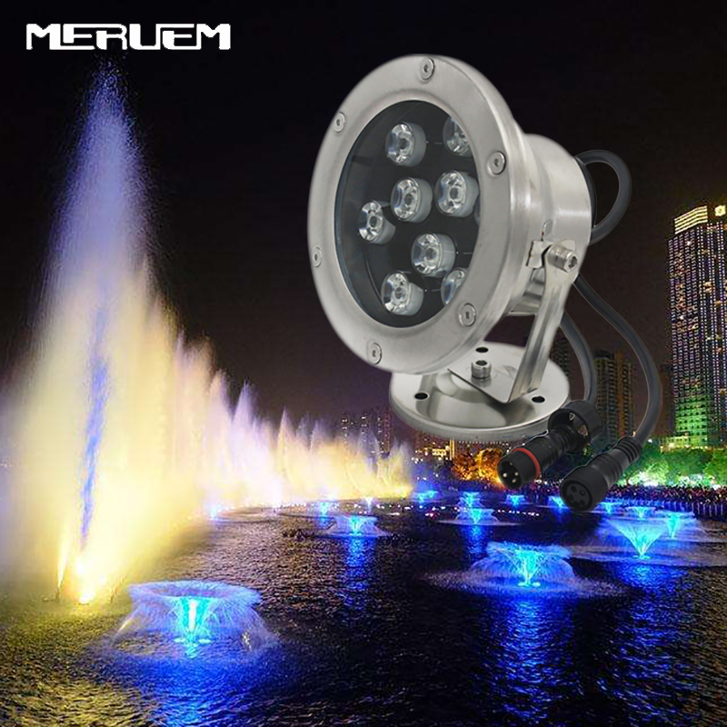 Gratis frakt 10st / lot RGB LED Pool Light IP68 DC12V 6W 9W Rostfritt Stål LED Undervattens Light Swimming Pool Led för fontän
