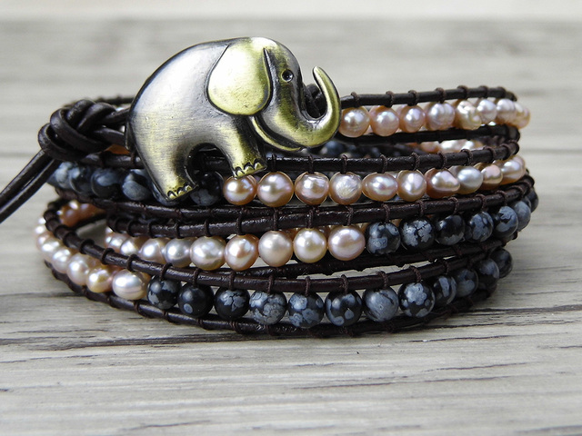 Boho 5 Wrap Bracelet Leather wrap bracelet Snowflake bead and fresh water pearl bracelet natural stone Jewelry friendship gift