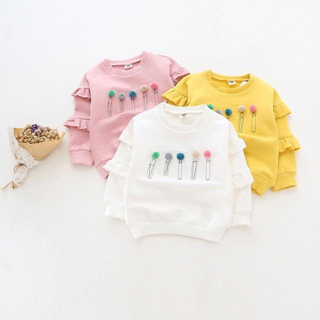 kids girls autumn winter t shirt baby long sleeve o-neck cartoon pencil pattern thick fleece hoodies children warm outwear 2-6T