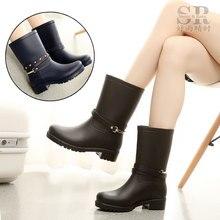 Модные ботинки на платформе для дождливой погоды женские Водонепроницаемый резиновая Ботильоны Женская обувь на низком каблуке