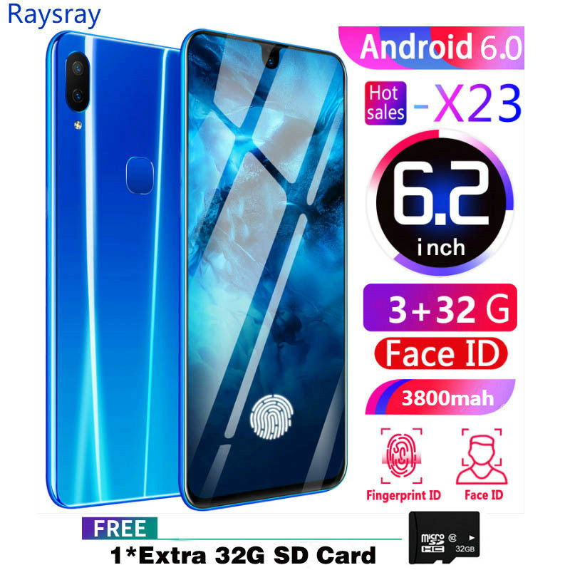 Raysray X23 3G LTE Smart Phone 3G RAM+32GB ROM 3800mAh Mobile Phone 8MP+2MP Cell Phone Dual SIM Cards Face Recognition