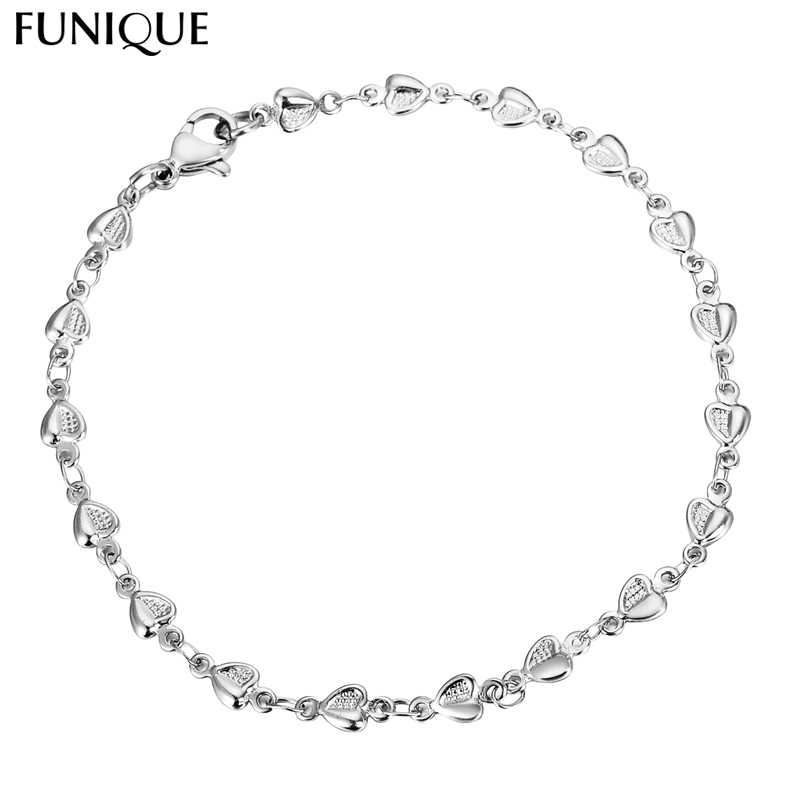 FUNIQUE 316L Stainless Steel Link Chain Bracelet Silver Tone Star Cross Heart Multiple Charm Bracelet Women Men Jewelry Gifts