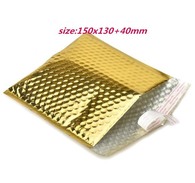 15 13cm Small Gold Bubble Bag For Cd Packaging Dvd Padded Envelopes