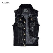 FALIZA Denim Vest Mens Jackets Sleeveless slim black Outerwear mens denim Coats jackets Tank Top Cowboy Male Ripped Jacket MJ I