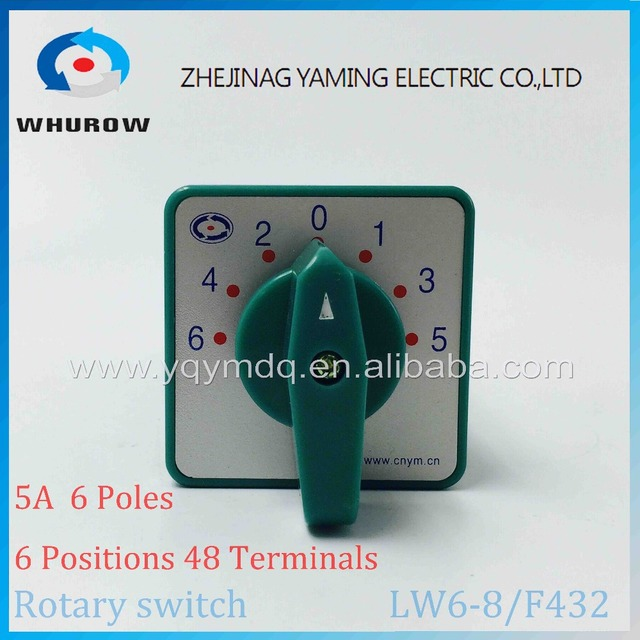 Commutateur rotatif 6 positions 380V 5A | Commutateur universel à came verte V 5A 8 pôles 48 terminaux de contacts en argent