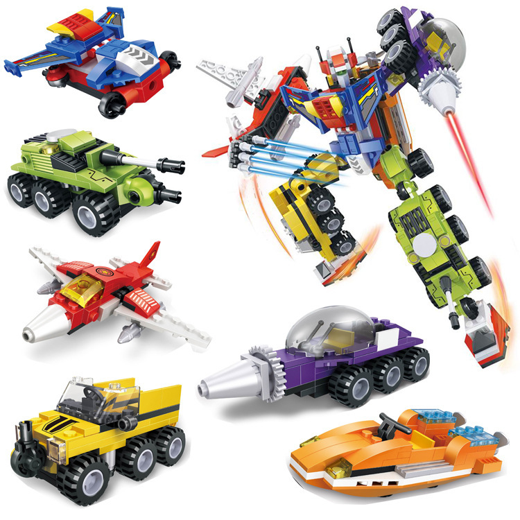6 PCSSet Puzzle Transformation Robot Wars Machine Cars Destroy Bruticus Toys Action Figures Block Toys For Kids Birthday Gifts