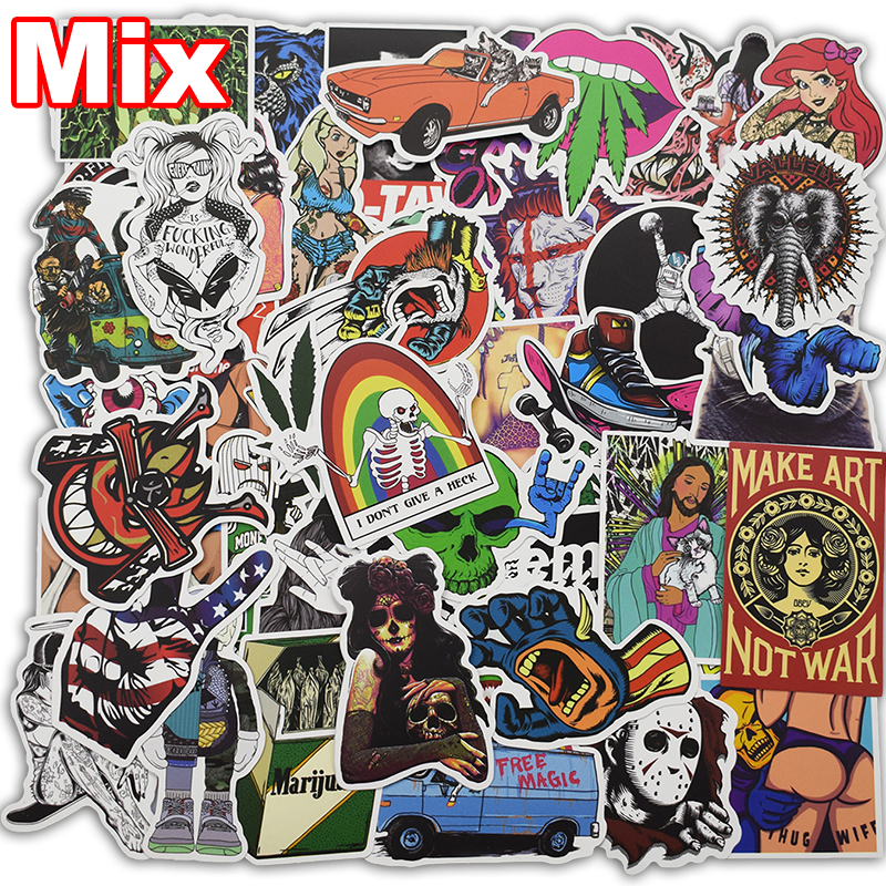 цена на Hot Sell 100 Pcs Mixed Funny Stickers for Car Motorcycle Laptop Luggage Phone Home Decor Fashion Vinyl Decals Cool DIY Sticker