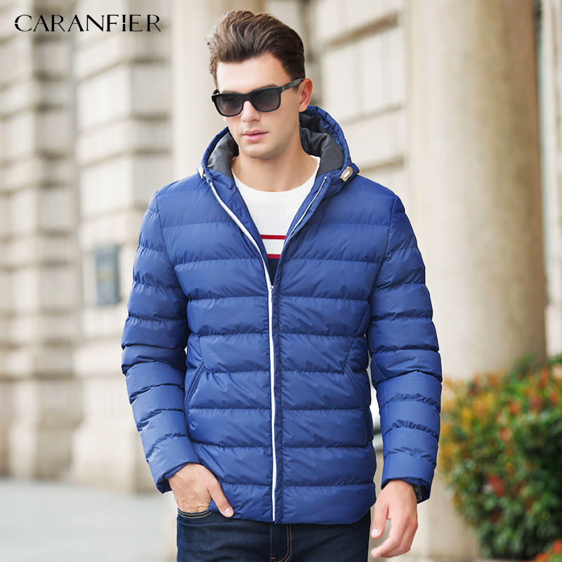 CARANFIER 2017 New Parka Men Winter Hooded Jacket Smart Casual Cotton Coat Zipper Breathable Warm Male Jacket Mens Down Parka