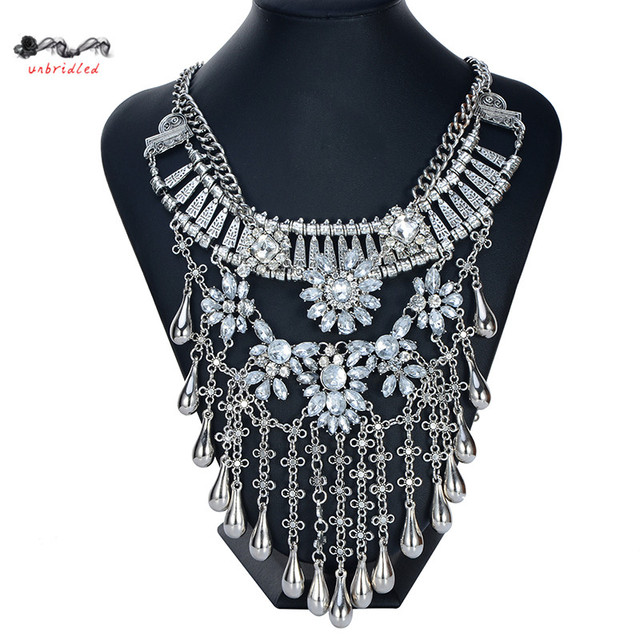 2016 New Necklaces & Pendants Vintage Crystal Maxi Choker Statement Silver Collier Femme Boho Big Fashion Women Jewellery joyas