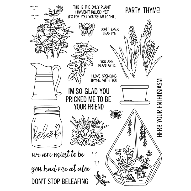 ZhuoAng Thyme/Party/flowers Transparent and Clear Stamp DIY Scrapbooking Album Card Making Decoration