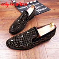New arrival men flats shoes suded leather loafers rivets rhinestone slip on casual shoes mocassins driving shoes size:38-43