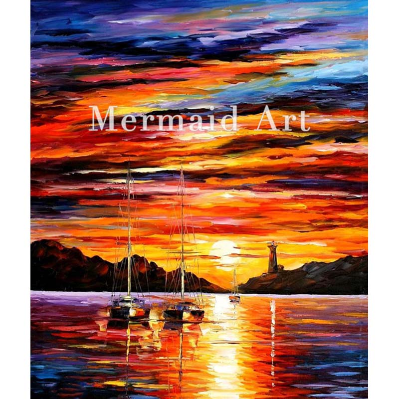 Hand Painted Landscape Abstract Sunset Seascape Artwork Palette font b Knife b font Modern Oil Painting