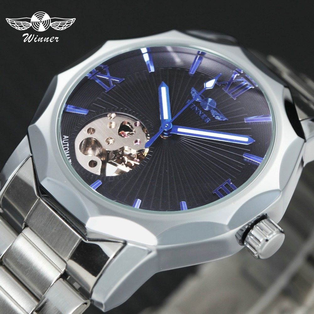 WINNER Classic Dress Watch Men Stainless Steel Strap Auto Mechanical Wristwatches Skeleton Black Dial Business relogio masculino
