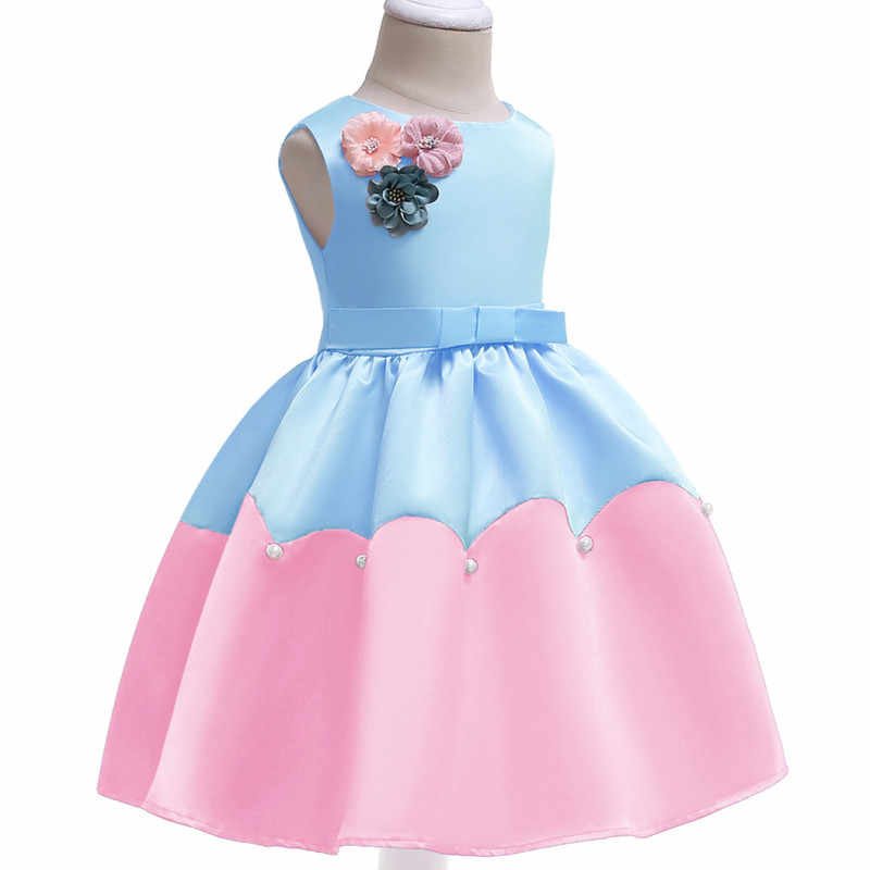 New children's clothing 2019 children Lolita sweet dress stitching color applique girls party dress baby pleated princess dress