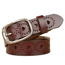 BISI GORO korean style love hollow out men belt cow genuine leather ceinture vintage Buckle strap jeans 2019 New Arrival fashion