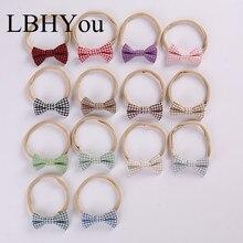 13pcs/lot Handmade Cotton Linen Bows Nylon Headbands,Hand Tie Plaid Knot Bow Head Wraps Soft Wear Baby Hair Accessory