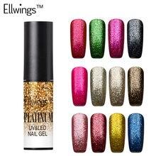 Ellwings 1pcs 12 Lucky Popular Colors Glitter Platinum UV Nail Gel Polish Soak Off UV/LED Lacquer Lak Semi Permanent