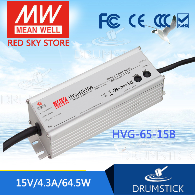 MEAN WELL HVG-65-15B 15V 4.3A meanwell HVG-65 15V 64.5W Single Output LED Driver Power Supply B type [powernex] mean well original hvg 65 54d 54v 1 21a meanwell hvg 65 54v 65 3w single output led driver power supply d type