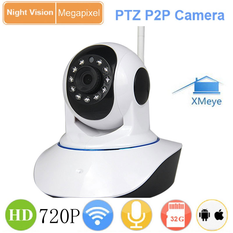 1.0MP 720P HD Night Vision Wireless WiFi Pan Tilt P2P XMeye IP Camera IR-CUT Network P/T SD Card Video Indoor CCTV Webcam Camera escam hd 720p ir night vision ir cut 1 0mp wireless wifi ip camera pan tilt security mini indoor camera support 32g card qf001