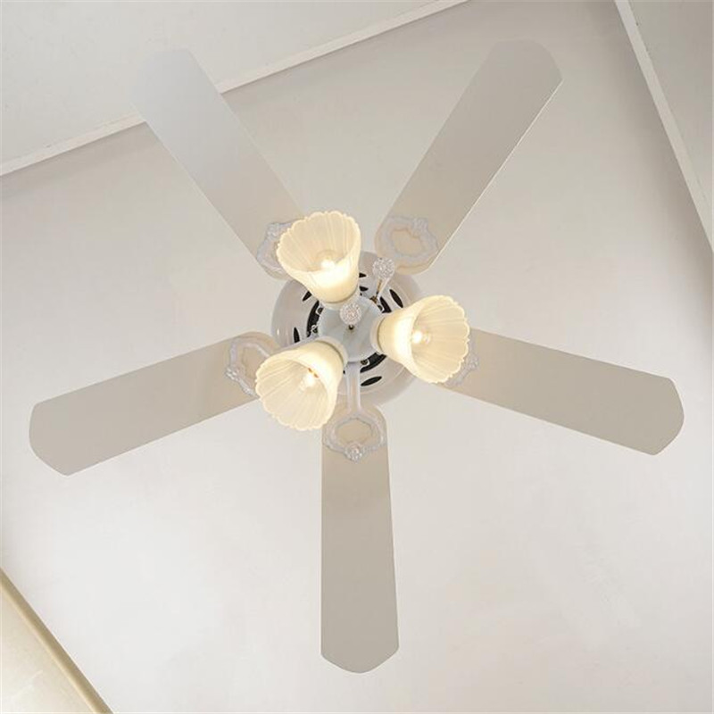 52 European Classical Copper Iron Leaf Led E27*5 Ceiling Fan Light For Dining Room Living Room Bedroom Deco 1587 Ceiling Lights & Fans