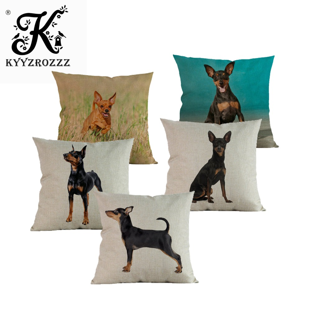 Animal dog Decorative Pillowcase Cushion cover Miniature Pinscher dogs Pillows cushions christmas decorations for home almofadas