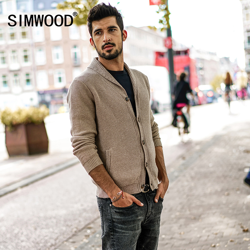 SIMWOOD Cardigan Men 2018 Spring Winter Knitted Sweater Slim Fit Male Casual Knitted Jacket High Quality Brand MK017003 men s knitted jacket
