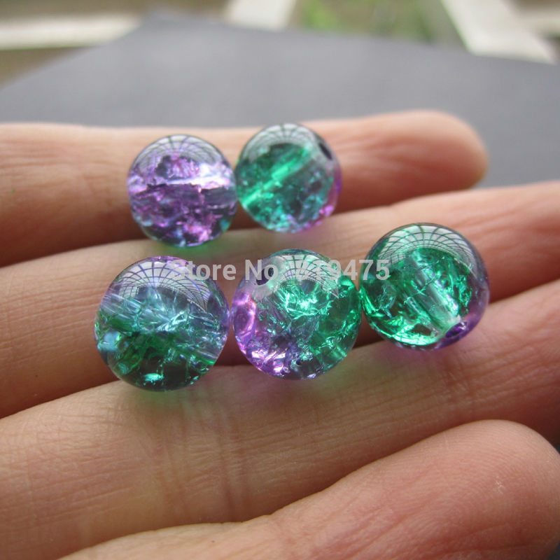 40Pcs/Lot 8mm 10mm  Glass Beads Crack Beads Purple Green  Color  for jewelry making