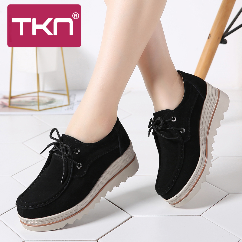 2019 Spring Women Platform Shoes Thick Soled Sneakers   Leather     Suede   Sapatos Feminino Creepers Moccasins Flats Shoes Woman 3089