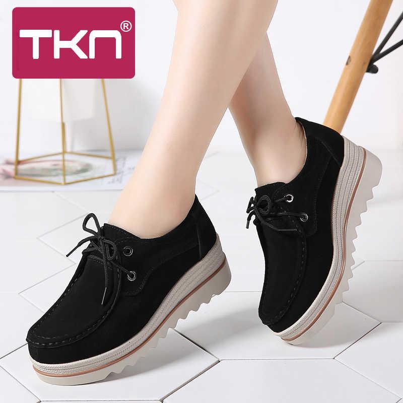 4518ff0dd 2019 Весенняя женская обувь на платформе; кроссовки на толстой подошве;  Кожаные Замшевые туфли;