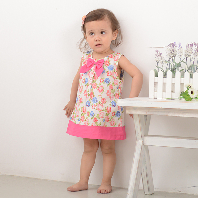 7d51ba0d9bc0f Summer Cotton Children Clothing Floral Colorful A Line Dresses for Baby  Girls Fashion Sleeveless Dress Kids Clothing-in Dresses from Mother & Kids