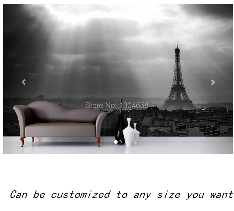 Free shipping custom murals paris black and white mural for Black and white paris wall mural