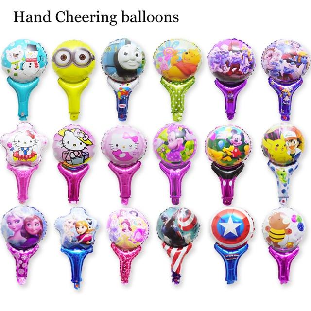 20pcs Lot Princess Anna Elsa Hello Kitty Cheering Balloons Thomas Minions Mickey Captain